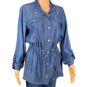 Baccini Zip Snap Blue Blouse Tie Front Roll Sleeve